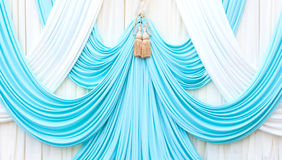 Blue and white curtain on stage Royalty Free Stock Photo