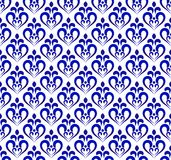 Blue and white damask pattern Stock Image