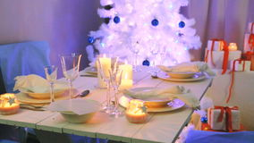 Blue and white decorations on the Christmas stock video