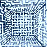 Blue white dimensional maze composition inside look Royalty Free Stock Photo