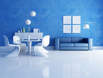 Blue and white dining room. Modern  dining room  with blue sofa - rendering Royalty Free Stock Images