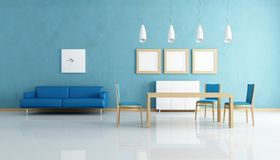 Blue and white dining room. Contemporary  blue and white dining room - rendering Stock Photography