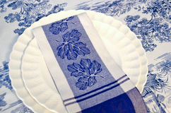 Blue and white dinner napkin Royalty Free Stock Photography