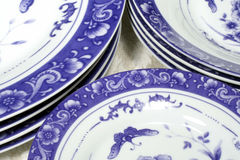 Blue & White Dinnerware. This is a close up image of blue and white plates, bowls, and saucers stock photos