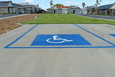 Blue and white Disabled Parking Bay sign Stock Photo
