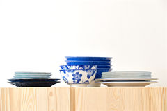 Blue and white dishes Royalty Free Stock Photography