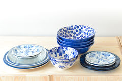 Blue and white dishes Stock Photography