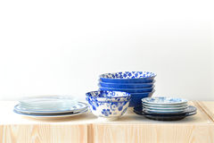 Blue and white dishes Stock Photo
