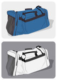 Blue and white duffel bags Royalty Free Stock Photo