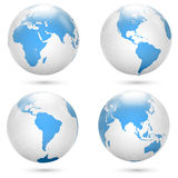 Blue and white Earth globe icon vector set. Royalty Free Stock Photography