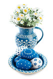 Blue-white Easter decorations on white background Stock Photo