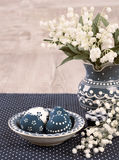 Blue and white Easter decorations on wood, text space Royalty Free Stock Photo