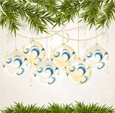 Blue, white end transparent Christmas ball Stock Photo