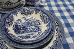 Blue and White English China Dishes. A charming mixed collection of cobalt blue and white English china stock photos