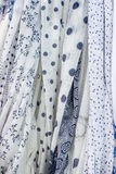 Blue and white fabrics Royalty Free Stock Image