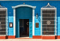 Blue and White Facade - Cuba royalty free stock image