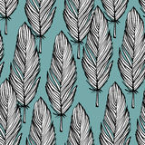 Blue and white feather seamless pattern. Blue and white colored hand draw black outline feather seamless background, textile pattern vector illustration