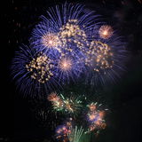 Fireworks blue white in clear night sky Royalty Free Stock Image
