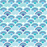 Blue and white fish scales squama background, vector seamless fabric pattern, tiled textile print. Classic japanese vector illustration