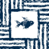 Blue and white fish in a striped frame woven grunge seamless pattern, vector Royalty Free Stock Image