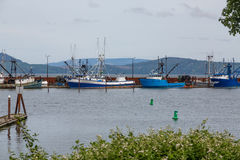 Blue and White Fishing Trawlers in Oregon Stock Image