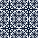 Blue and white floral arabesque seamless pattern Stock Photo