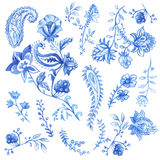 Blue and white floral decorative elements. Vector watercolor. Elements royalty free illustration
