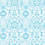 Blue and white floral folk seamless pattern stock photography
