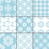 Blue and white floral ornaments. Collection of seamless patterns Stock Photo