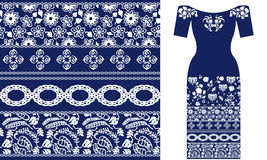 Blue and white floral pattern with Damask elements and roses. Stock Images