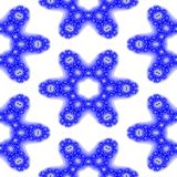 Blue white floral snowflake fractal seamless pattern Royalty Free Stock Photos