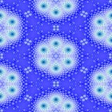 Blue white floral snowflake fractal seamless pattern stock photography