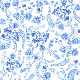 Blue and white floral wallpaper. Floral seamless pattern in paisley style. Decorative botanical backdrop. Light blue. Blue and white floral wallpaper. Floral Stock Image
