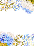 Blue white flower wedding decoration. Watercolor hydrangea, rose Royalty Free Stock Images