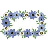 Blue and White Flower Wreath stock illustration
