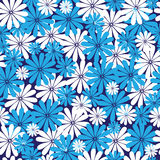 Blue and white flowers seamless stock illustration