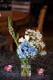 Blue and White Flowers at Wedding Reception Royalty Free Stock Photo