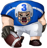 Blue White Football Player Kneels and Holds Ball. A vector illustration of a football player in blue and white uniforms kneeling and holding a football royalty free illustration