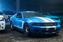 Blue-white Ford Mustang tuning Stock Photos