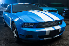 Blue-white Ford Mustang tuning Stock Images