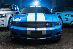 Blue-white Ford Mustang tuning Stock Image