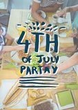 Blue and white fourth of July party graphic against overhead of family eating at table Stock Image