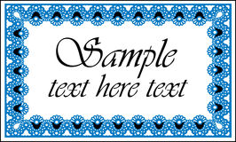 Blue and white frame for text Stock Image