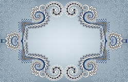 Blue white frame in vintage style on a pale turquoise background Stock Photography