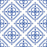 Blue and white geometric mediterranean seamless tile pattern. Abstract monochrome shapes vector texture for ceramic design, textile and wallpaper Royalty Free Stock Images