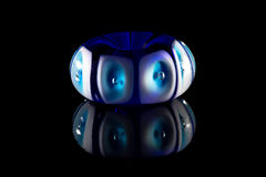 Blue and white glass bead Stock Photo