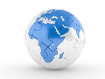 Blue and white globe puzzle Stock Photography