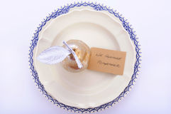 Blue, White and Gold Thanksgiving Table Royalty Free Stock Images