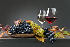 Blue and white grapes with glasses of wine Royalty Free Stock Images