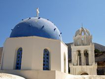 Blue and White Greek Church Royalty Free Stock Photography